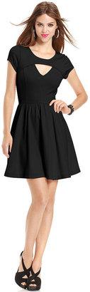 GUESS Dress, Short-Sleeve Scoop-Neck Cutout A-Line