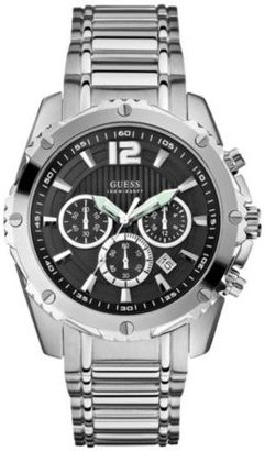 GUESS Black and Silver-Tone Bold Sport Watch