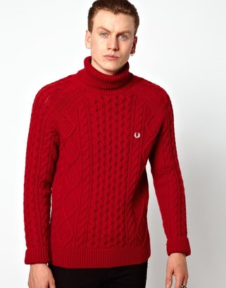 Fred Perry British Knitting Aran Roll Neck Sweater