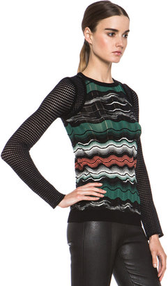 M Missoni Greek Key Stripe Knit Sweater in Leaf