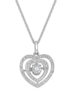 Twinkling Diamond Star Diamond Nested Heart Pendant Necklace in 10k White Gold (1/5 ct. t.w.)