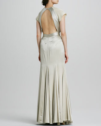 Zac Posen Jeweled-Neck Cap-Sleeve Gown