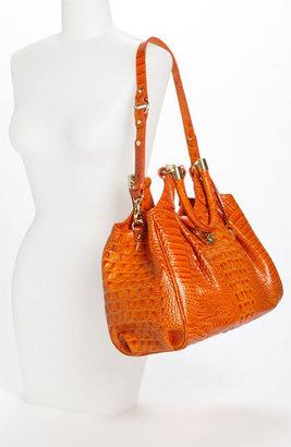 Brahmin 'Elisa' Croc Embossed Leather Shoulder Bag - Brown