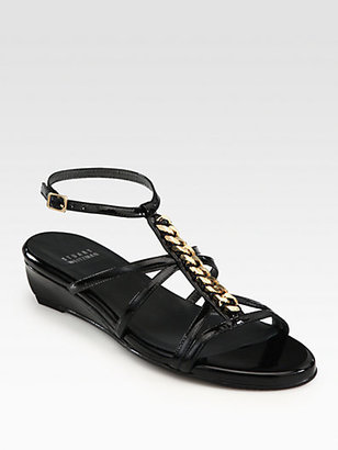Stuart Weitzman Tiffy Chain-Detail Patent Leather Wedge Sandals