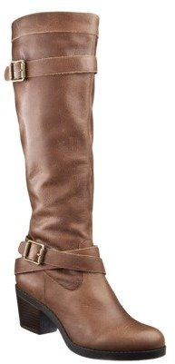 Mossimo Women's Kailyn Genuine Leather Heeled Buckle Boot - Brown