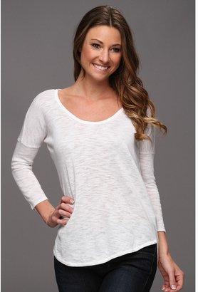 C&C California Linen Cotton 3/4 Sleeve Shirttail Tee (White) - Apparel