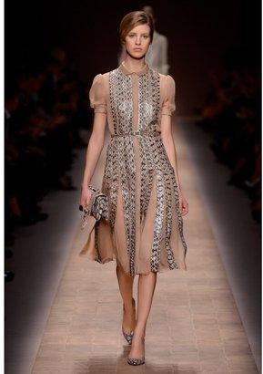 Valentino SILK AND SNAKESKIN BELTED DRESS