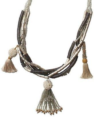 LOFT Long Seed Bead Tassel Necklace