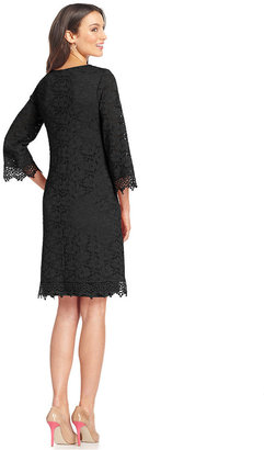 Alfani Petite Three-Quarter-Sleeve Lace Sheath Dress
