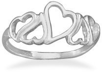 Heart Ring Childrens Teens Sizes Sterling Silver Polished Open Design, 6