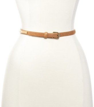 Vince Camuto Women's 16Mm Shiny Reptile Skinny Leather Belt with Gold Panel Tan