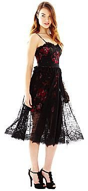 Marchesa Pearl Georgina Chapman of Lace Overlay Floral Dress