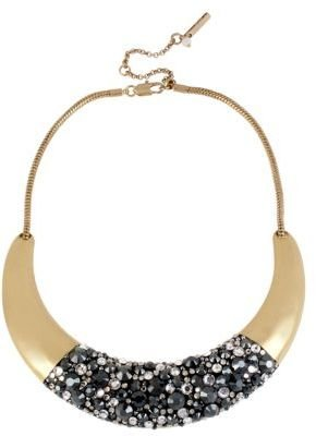 Kenneth Cole NEW YORK Gold-Tone & Crystal-Encrusted Half Moon Collar Necklace