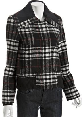 Levi's black wool blend plaid zip bomber jacket