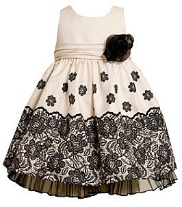 Bonnie Jean Girls' 2T-4T Ivory/Black Shantung Dress