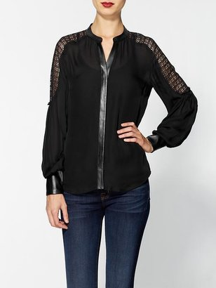 Madison Marcus Grandeur Lace Sheer V-Neck Top