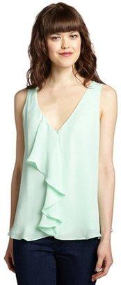 Chelsea Flower aquamarine silk ruffle front tank blouse