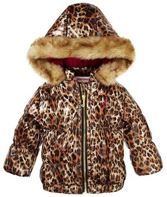 Juicy Couture Leopard Puffer With Faux Fur Hood