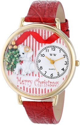 Whimsical Watches Unisex G1220017 Christmas Puppy Red Leather Watch
