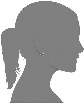10k Gold Earrings, Engraved Hoop