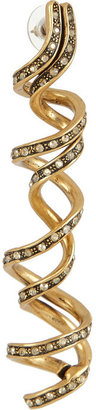 Oscar de la Renta Spiral gold-plated crystal earrings