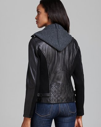 DKNY Leather Jacket - Moto Knit Hood