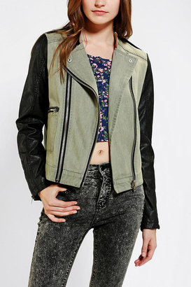 Urban Outfitters Members Only Fabric-Mix Moto Jacket