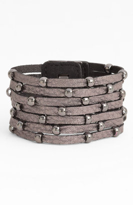 Cara Accessories Sliced Leather Studded Bracelet