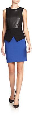 Tibi Leather-Front Colorblock Dress