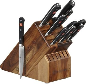 "Wusthof Classic Black 10-Piece Knife Block Set: 2.75"" trimming knife, 3"" flat cut paring knife, 3.5"" paring knife, 4.5"" utility knife, 5"" tomato knife, 8"" bread knife, 8"" cook's knife, kitchen shears, 9"" sharpening steel and 17-slot acacia knife block."