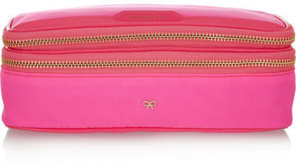 Anya Hindmarch Make-Up neon patent leather-trimmed cosmetics case