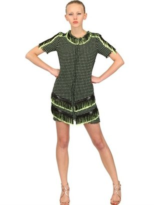 MSGM Fringed Cotton Tweed Dress