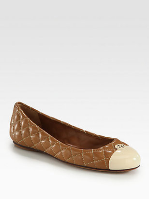 Tory Burch Kaitlyn Quilted Leather & Patent Ballet Flats