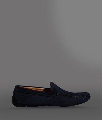 Giorgio Armani Driver Shoe In Croc Print Suede