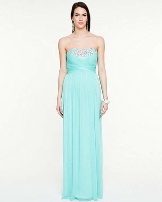 Le Château Sheer Knit Jewel Encrusted Sweetheart Gown