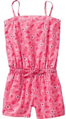 Old Navy Girls Printed Pleat-Front Rompers