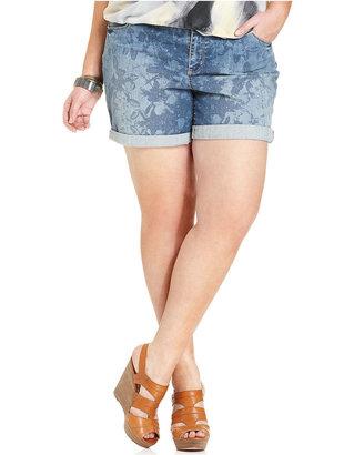 DKNY Shorts, Floral-Print Cuffed Denim, Indigo Wash