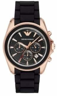 Emporio Armani Chronograph Matte Black and Rose Goldtone Watch