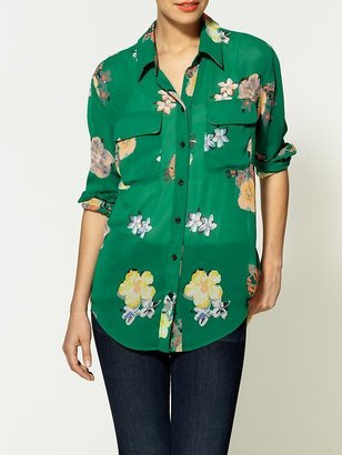 Red Carter Boundary & Co. Floral Button-Down Blouse