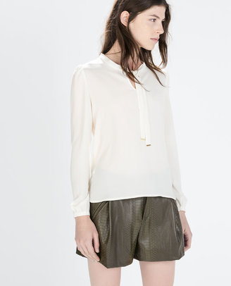 Blouse With Bow On Collar