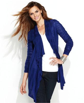 INC International Concepts Cardigan, Three-Quarter-Sleeve Draped Damask-Stripe