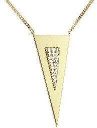 Janis Savitt Large Triangle Necklace with Diamonds - Yellow Gold