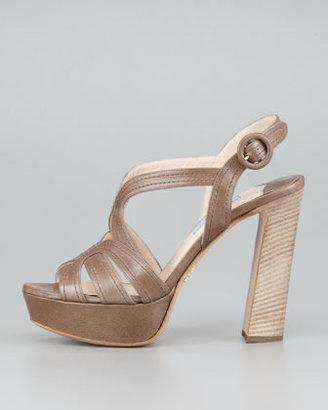 Prada Butterfly Strappy Sandal, Gray