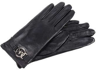 MICHAEL Michael Kors Michael Kors Leather Glove with MK Circa Logo (Black) - Accessories