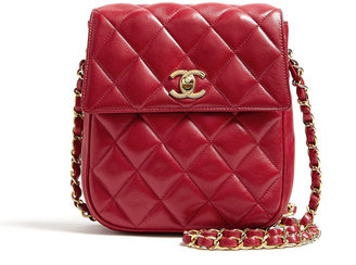 Chanel Red Leather Quilted Shoulder Bag