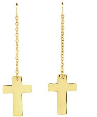 Charlotte Russe Dangling Metallic Cross Earrings