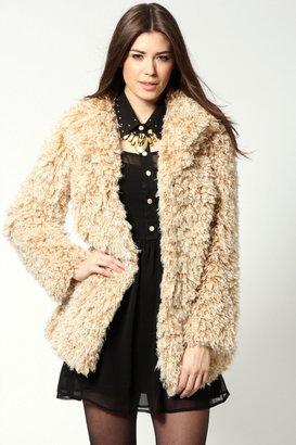 Boohoo Boutique Talia Mongolian Faux Fur Shaggy Long Coat