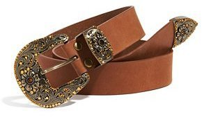 GUESS Leather Belt with Western-Inspired Rhinestone Buckle