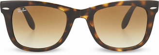 Ray-Ban Light Havana folding tortoiseshell wayfarer sunglasses with brown polarised lenses RB4105 51