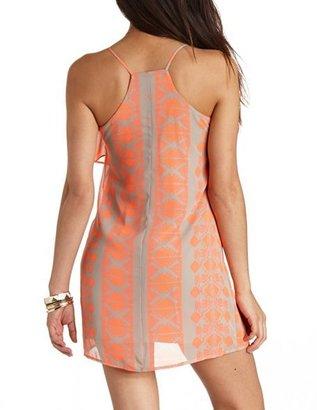 Charlotte Russe Tribal Print Flounce Chiffon Shift Dress